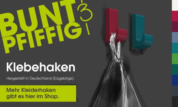 Banner Klebehaken BUNT & PFIFFIG