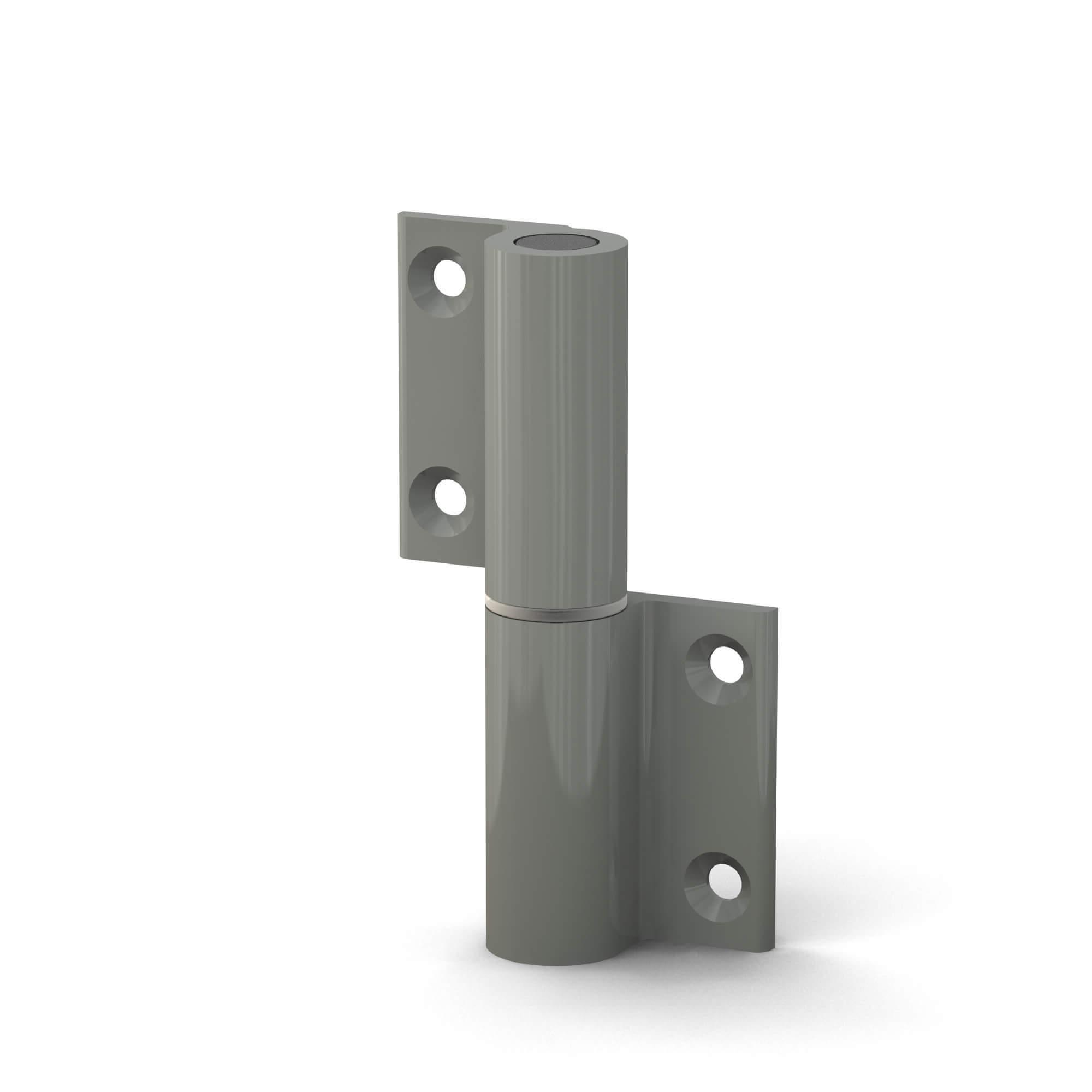 BUNT & PFIFFIG Doppelpack Möbelband Möbelscharnier Aufschraubband Türscharnier aus Aluminium Grau Achatgrau Hellgrau RAL 7038 DIN-Richtung: rechts - aufschraubbar