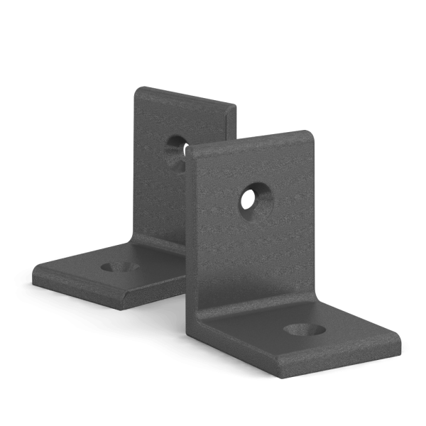 BUNT & PFIFFIG Winkelverbinder aus Aluminium Doppelpack pulverbeschichtet Eisenglimmer-Grau