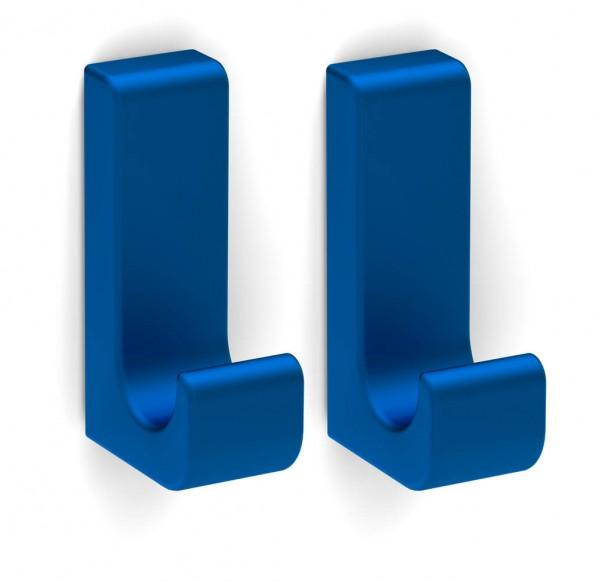 Bunt & Pfiffig 2 Stück Klebehaken - selbstklebend aus Aluminium farbig - Blau eloxiert