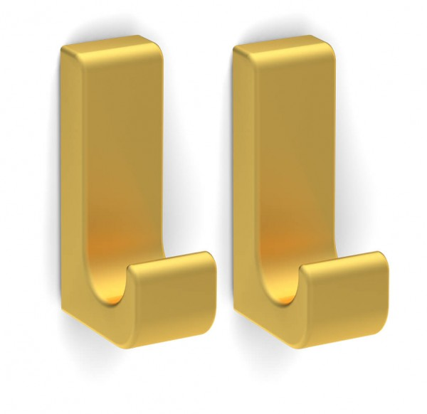 Bunt & Pfiffig 2 Stück Klebehaken - selbstklebend aus Aluminium farbig - Gold eloxiert