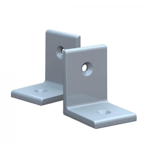 BUNT & PFIFFIG Winkelverbinder aus Aluminium Doppelpack pulverbeschichtet Lichtgrau