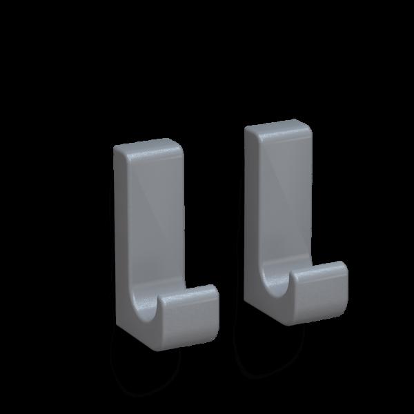 Bunt & Pfiffig 2 Stück Klebehaken aus Aluminium farbig pulverbeschichtet Graualuminium