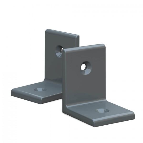 BUNT & PFIFFIG Winkelverbinder aus Aluminium Doppelpack pulverbeschichtet Steingrau