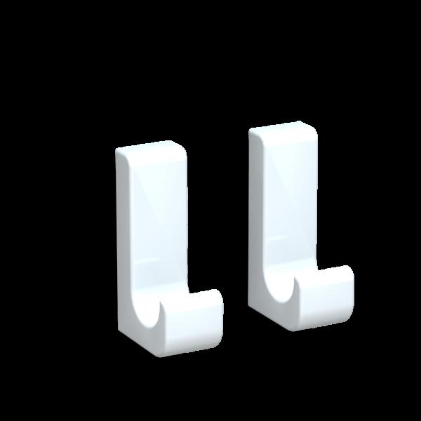 Bunt & Pfiffig 2 Stück Klebehaken aus Aluminium farbig pulverbeschichtet Verkehrsweiß