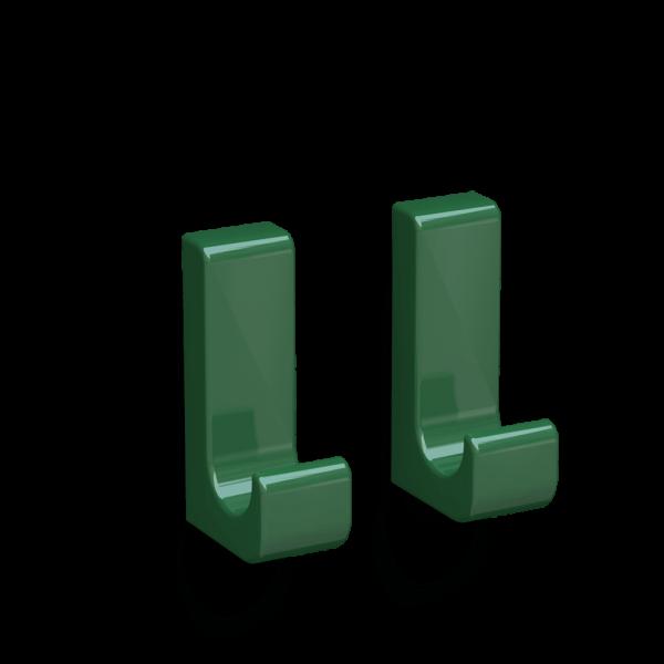 Bunt & Pfiffig 2 Stück Klebehaken selbstklebend aus Aluminium farbig pulverbeschichtet Smaragdgrün