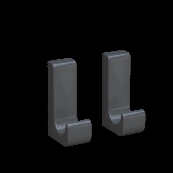 Bunt & Pfiffig 2 Stück Klebehaken - aus Aluminium farbig pulverbeschichtet Eisenglimmer-Grau