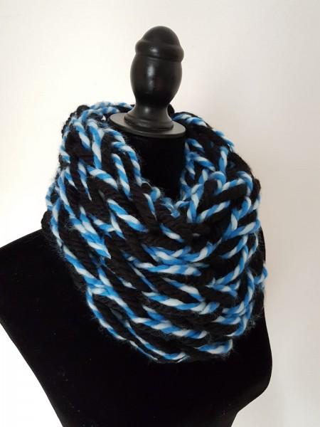 Loop-Schal schwarz-blau-weiß, EXTRA KUSCHLIG