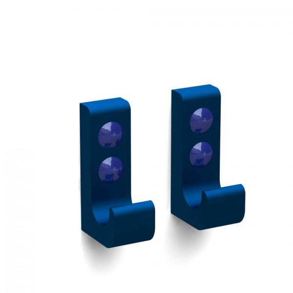 Bunt & Pfiffig Doppelpack Kleiderhaken Wandhaken Handtuchhalter Universalhaken Blau eloxiert