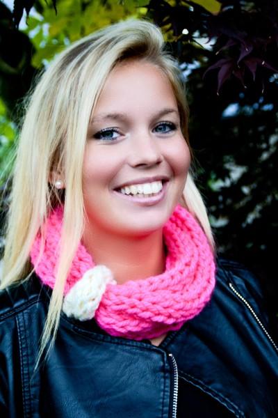 Loop-Schal Neon-Pink, weiß