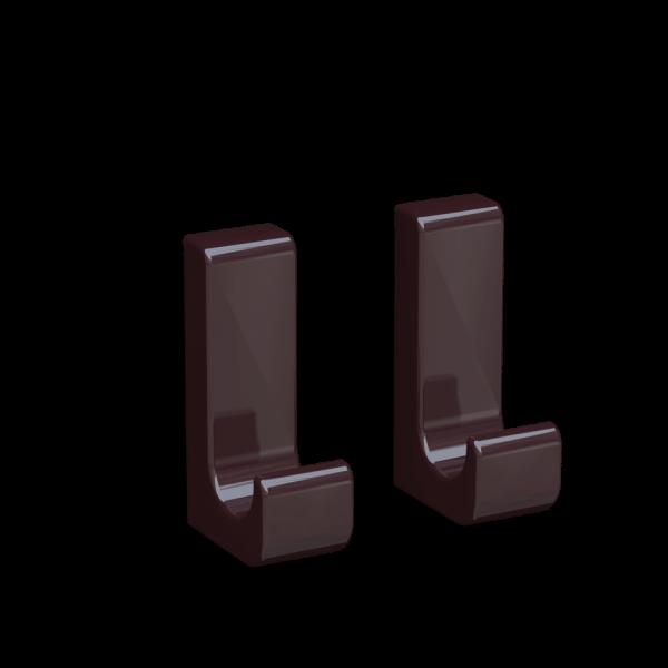 Bunt & Pfiffig 2 Stück Klebehaken - selbstklebend aus Aluminium farbig pulverbeschichtet Schwarzrot