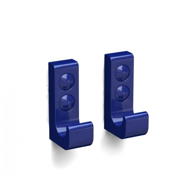 Bunt & Pfiffig Doppelpack Kleiderhaken aus Aluminium pulverbeschichtet RAL 5002 Ultramarinblau