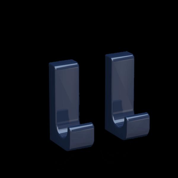Bunt & Pfiffig 2 Stück Klebehaken - selbstklebend aus Aluminium farbig pulverbeschichtet Stahlblau