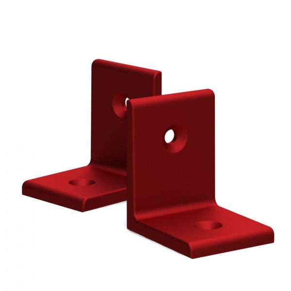 BUNT & PFIFFIG Winkelverbinder aus Aluminium Doppelpack Rot eloxiert