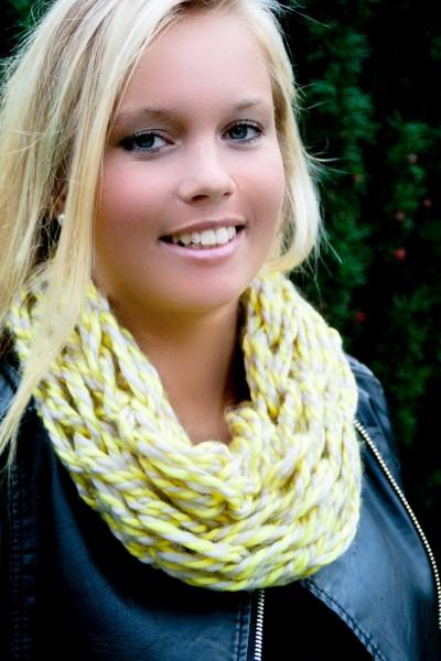 Loop-Schal gelb-weiß